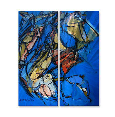 Metal Wall Hanging Art Hand Made Abstract Contemporary Modern Blue Splay 22
