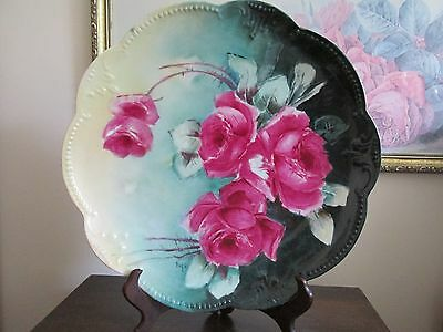 """Limoges AKD France Hand Painted Red Roses Charger Plate Signed Pope 13"""" Green"""