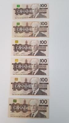Bank Of Canada 1988- 7- $ 100 Canadian Bank Notes You Are Buying 1Note For $130