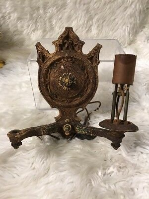Vtg Art Deco Cast Iron?  Wall Sconce Electric Gothic Light Fixture