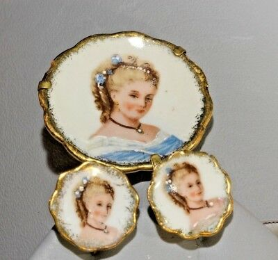 LIMOGES FRANCE Signed Porcelain Cameo Brooch & Earrings Hand Painted Gold Edges