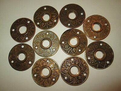 Lot Of 10 Vintage Antique Brass Rosettes Could Be Eastlake Used For Door Knobs