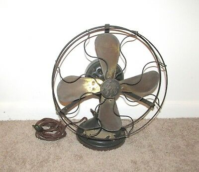 Nice Antique General Electric Brass Four Blade Electric Fan 13 Inch