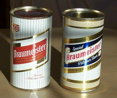 *Clean* Lot of 2 Braumeister Flat Top Beer Cans (Wisconsin)-USBC 41-17 & 41-15