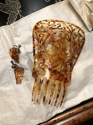 VTG Large Mantilla Hair Comb and Earrings Hand Carved Faux  Tortoise Cellioid