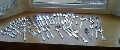 Silverplate Mixed Vintage Flatware Lot For Crafts Knives, Forks, Spoons 47 Piece
