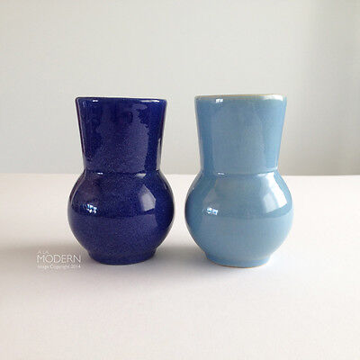2 Pacific Pottery No. 419 Cobalt / Light Blue Ball Pottery Tumblers California
