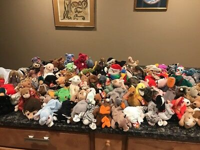 Great Lot Of 100+ Ty 1990s Beanie Babies With Tags Valentina Clubby Bears Dogs++