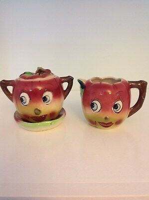 Vintage Anthromorphic Apple Face Cream and Sugar with Dish