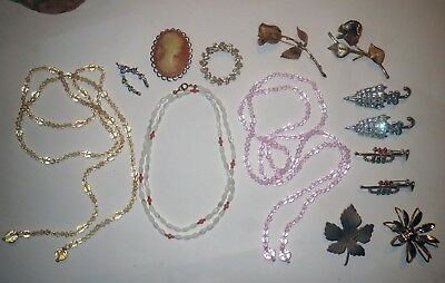 Large JEWELRY LOT Vintage & Antique DUETTE CRYSTAL CAMEO RHINESTONE PEARL CORAL