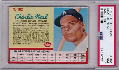 1962 Post Cereal #102 Charlie Neal Psa 7 Los Angeles Dodgers Near Mint