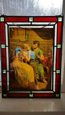 Vintage Pair Leaded Jeweled Stained Glass Framed celluloid pictures of couple