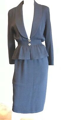 VTG ST JOHN Collection By Marie Gray Women Knit Black 2 Piece Skirt Suit Size