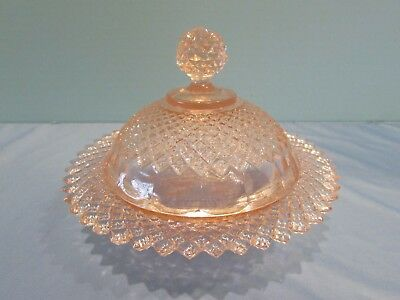 Vintage Anchor Hocking Miss America Pink Butter Dish circa 1935-1937 MINT