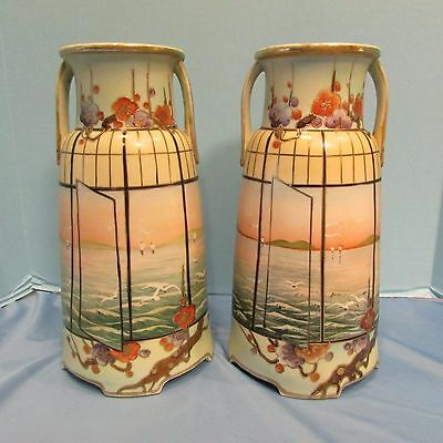 Fabulous Large Pair Antique Hand Painted Imperial Nippon Vases Seagulls!