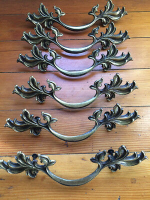Lot of 6 Very large ornate Brass French Provincial drawer handles/pulls 9 1/4""