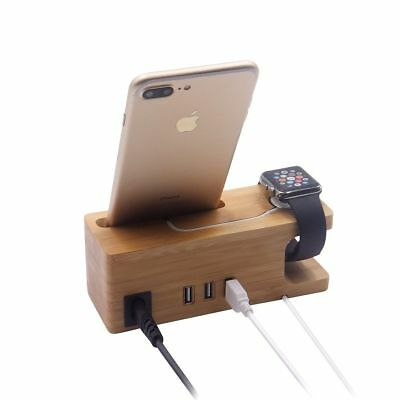 APPLE WATCH Charger Cord Bamboo Wood Docking Station CHARGING STAND For iWatch