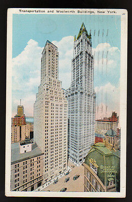 1932 NEW YORK CITY NY Transportation Woolworth Buildings Vintage Postcard
