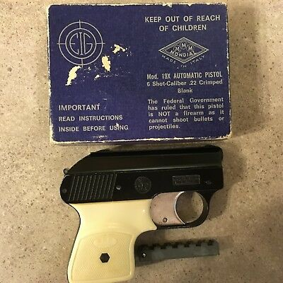 Vintage Mondial Mod 19X Italy 6-shot Starter Pistol in Box-Ivory Colored Handle