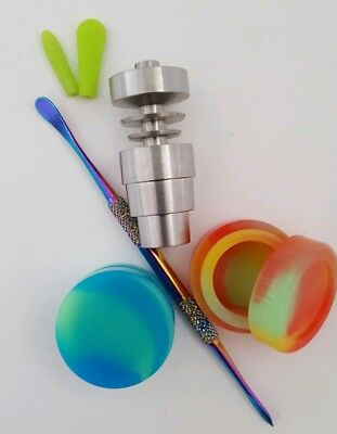 Titanium Nail Domeless 4 in 1 - 14mm/18mm Male & Female w/ tool & 2 containers