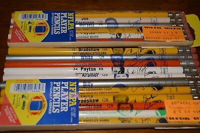 1983 NFL Player Pencils Vintage Lot of 18 diff Walter Payton Dorsett Bradshaw