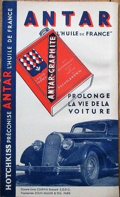 Antar-Graphite 1940s French Motor Oil Advertising Card w/Car/Automobile
