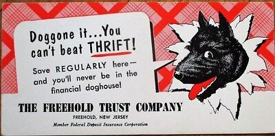 Dog on 1940s Bank Advertising Blotter: Freehold, NJ Trust Company - New Jersey