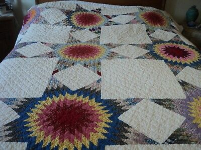 Antique Touching Stars Quilt, Great Fabrics