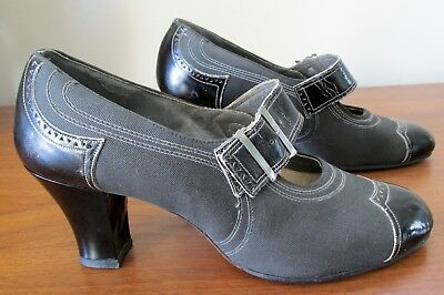 "Vintage NOS c1930's Charcoal Wool & Black Leather 2.5"" High Heel Buckle Shoes"