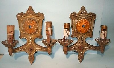 Vintage Pair Of Art Deco 1920's Markel Metal Wall Light Sconces
