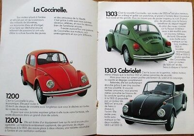 Volkswagen 1980s French Car Brochure w/Beetle & Bus/Minibus - Eight-Pages