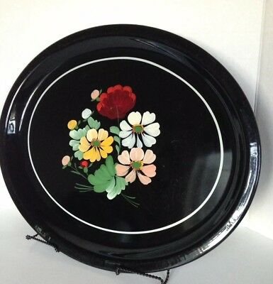 Vintage Black Hand Painted Floral Serving Tray Tole Ware Metal