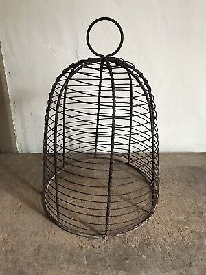 RARE Early Antique Large Iron Wire Garden Bell Cloche Bell Patina Handmade AAFA