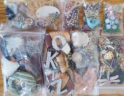 Vtg Jewelry Craft Junk Drawer Lot; Findings Charms Pendants Salvage Altered Art