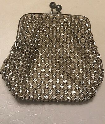 Vintage Rhinestone & Crochet  Change Purse From West Germany Kiss Closure