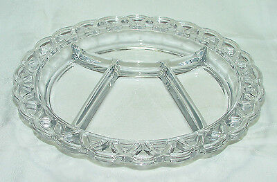 """PERFECT Hard-to-Find Imperial """"CROCHETED CRYSTAL/LACED EDGE"""" Relish Dish!"""