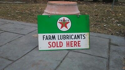 Vintage Texaco Farm Lubricants Double Sided Tractor Equipment Metal Sign