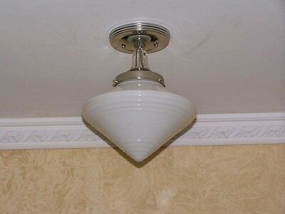 877 Vintage 40's 50's aRT Deco Ceiling Light Lamp Fixture  bath hall kitchen