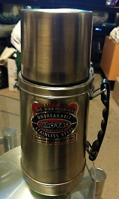 Vintage Wide Uno-Vac Stainless Steel Thermos