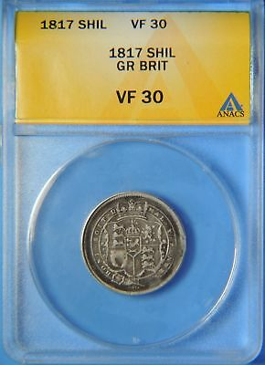 1817 Great Britain George III Silver One Shilling Coin ANACS Graded VF30