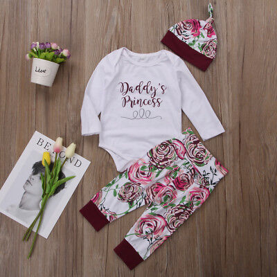 US Stock Newborn Kids Baby Girls Flower Romper Pants Leggings Hat Outfit Clothes