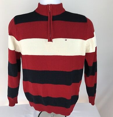 Tommy Hilfiger Long Sleeve Boys  12 14 1/4– Zip Sweater Red White Blue Striped