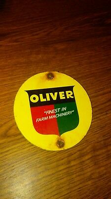 Vintage Oliver Farm Machinery Tractor Barn Equipment Parts Tag Sign
