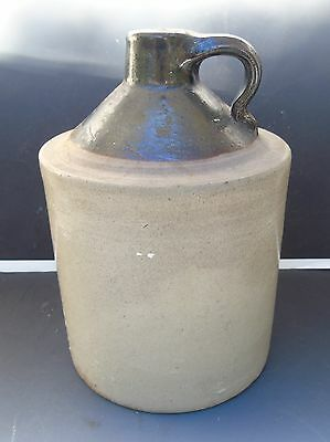 Antique Primitive Pottery Stoneware Whiskey Jug Crock Handle Brown Tan 8 1/4""