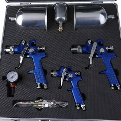 3 HVLP Air Spray Gun Kit Professional Spray Gun Gravity Feed Paint Sprayer 1/4""