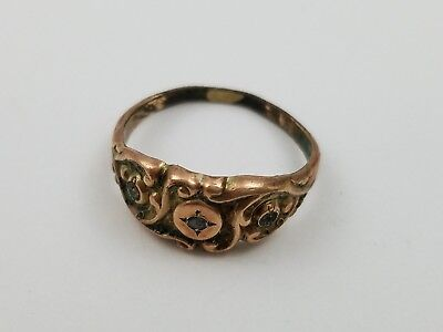 Antique Victorian Art Nouveau gold filled ring Ornate Carved Stone Sz 5 Unsigned