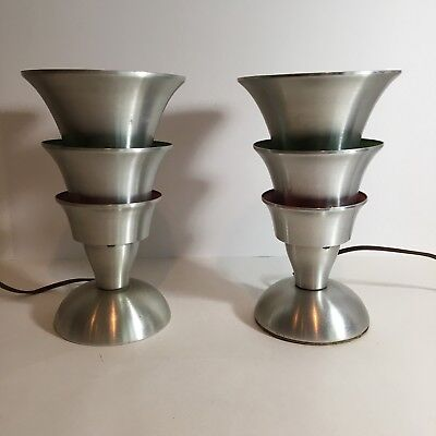 Vtg Streamline, Art Deco,  Machine Age, Modernist, MCM, Eames Era Aluminum Lamps