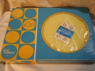 Vintage Baby Blanket Yellow Waffle Thermal Acrylic Silky Nylon Trim Edge NIB