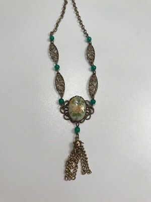 Vintage Art Deco Style Yellow Green Flower Cabochon Drop Necklace Gold Tone