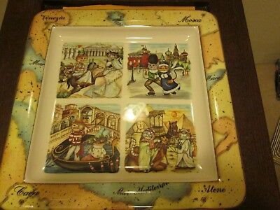 """Tourist Cats Made In Italy Large Plate New No Box 14.5"""" x 14.5"""""""